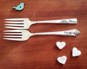 Just Married, Mismatched, Hand Stamped Wedding Forks