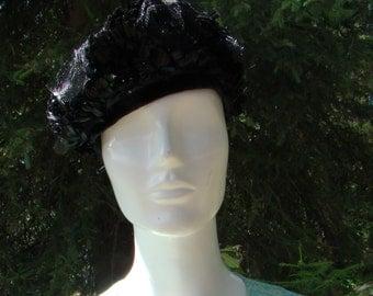 1960s Chiffon Roses Black Pillbox Hat