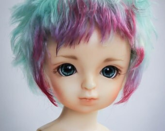 Short fantasy style  wig for bjd from angora goat mohair