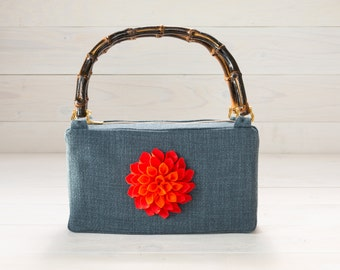 Blue Purse with Orange Dahlia Felt Flower and Bamboo Handles