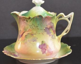 Antique RS Prussia German Porcelain SYRUP Pitcher REDUCED Under Plate Mold 3 Art Nouveau Period Cottage Chic Decor