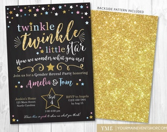 Gender Reveal Twinkle Twinkle Little Star Invitation • Pink Blue Gold Twinkle Star Gender Reveal Party Invite • Baby Shower Printable Invite