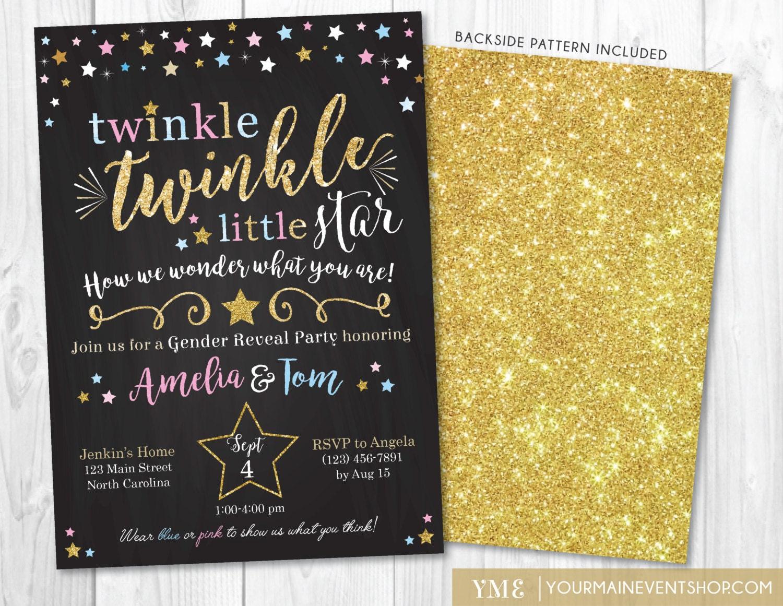 Gender Reveal Twinkle Twinkle Little Star Invitation Pink