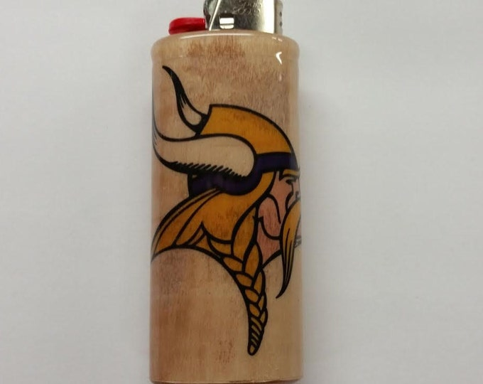 Minnesota Vikings Norseman Logo BIC Lighter Case Holder Sleeve Cover