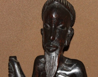 Vintage Hand Carved Wood African Male Statuette
