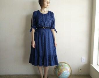 Vintage 1970s Polka Dot Prairie Dress/70s Boho Dress/Medium Large