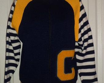 Vintage 1970's High School Letterman Letter Cardigan High Neck Zipper Sweater 38
