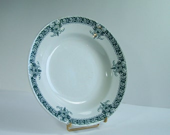 Old soup plate white and green La Française EGT grape pattern earthenware green plate vintage  Made in France