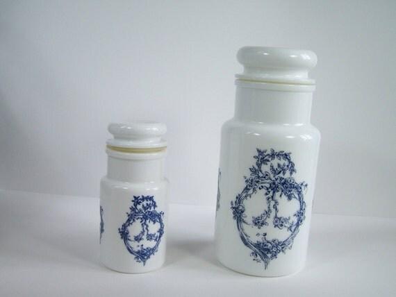 2 pots apothicaire pharmacie en verre par myfrenchideedantique. Black Bedroom Furniture Sets. Home Design Ideas