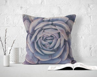 Purple Succulent Outdoor or Indoor Pillow Cover, California Pillow