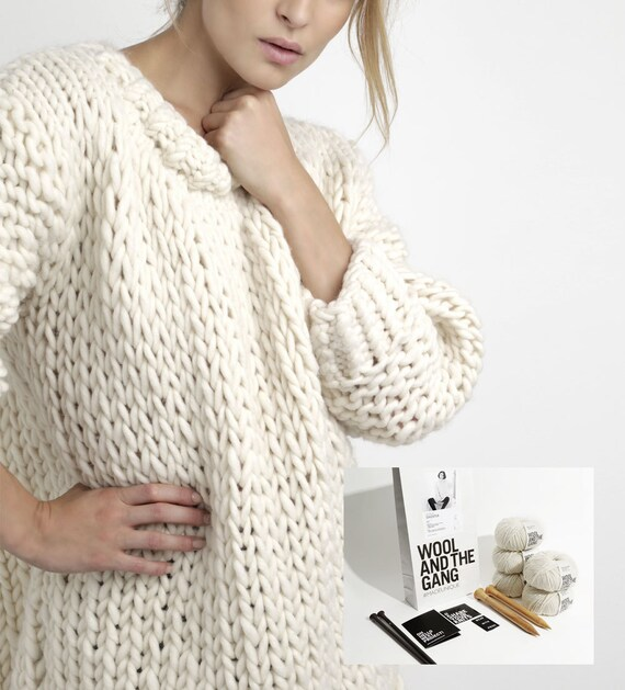 Knitting Pattern Wool Kits : DYI Knitting Kit Wonder Wool Sweater. 100% by WoolandtheGangltd