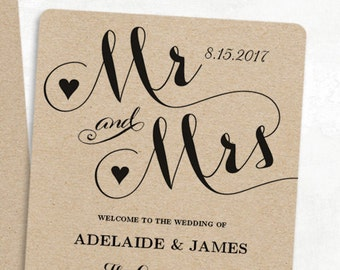 Printable Wedding Program Template, Fan Wedding Program, Cheap DIY Kraft Fan Program, 3 Colors Included, Editable text, 5x7, Mr & Mrs