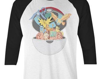 Pokemon Baseball Tee - Pokemon Go - Pokemon T Shirt - Pokemon Go T Shirt - Pikachu T Shirt