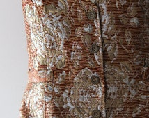 Vtg METALLIC Baroque Vest/Textured Jacquard Damask Tapestry Bold Silver Gold Brown Waistcoat/Mixed Metals Thread Layer Button Down Vest/S-M