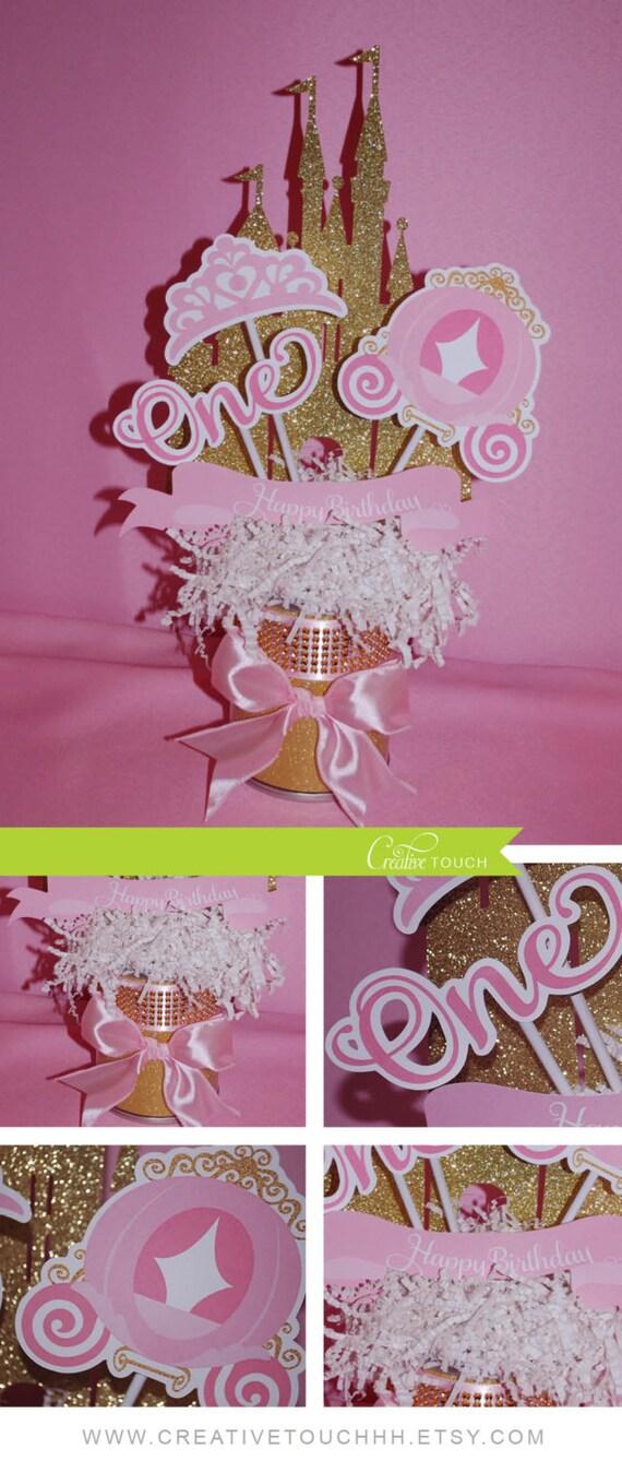Princess Centerpieces Pink Gold Disney