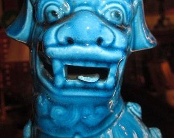 Ceramic Glazed Turquoise Blue Foo Dog Feng Shui