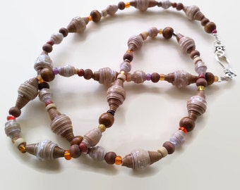 Paper bead Necklace  paper bead Jewelry  long necklace  hand rolled beads  long paperbead necklace  brown bead necklace  ecofriendly jewelry