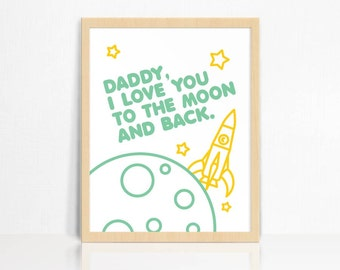 Daddy I Love You To The Moon & Back Wall Print | Father's Day Gift