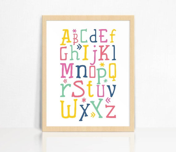 Alphabet Wall Decor Nursery : Abc alphabet wall print nursery decor children s room