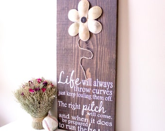 Baseball Decor, Baseball Sign, Baseball Quote, Inspirational Quote, Baseball Wall Decor, Life Will Always Throw Curves