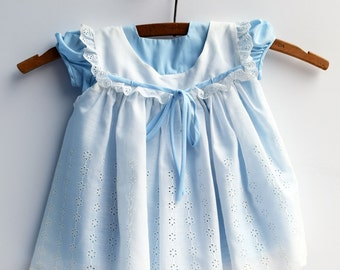 Baby Girl Dress, Blue and White Eyelet Baby Dress Two-Piece, 1960s, Baby Clothes, 12 Months
