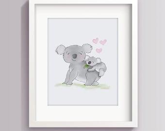 Koala Nursery Art - Baby Room Prints - Koala Baby Shower - Koala Bear - Childrens Art Prints - Sweet Cheeks Images