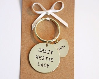 Crazy Westie Lady Hand Stamped Keyring, Personalised with dogs name(s)