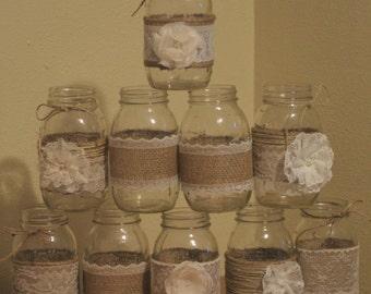 Burlap Mason Jar Centerpieces, Wedding Centerpieces, Rustic Wedding Centerpieces, Mason Jar Decorations, Jar Not Included