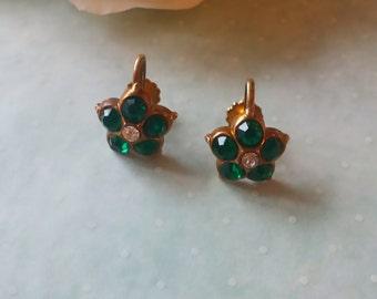 Emerald Rhinestone Earrings Mid Century Screw Back Vintage 1950s