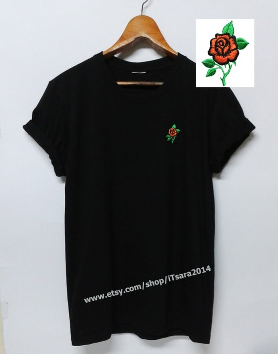 Red rose embroidered t shirt our shirts are asian by