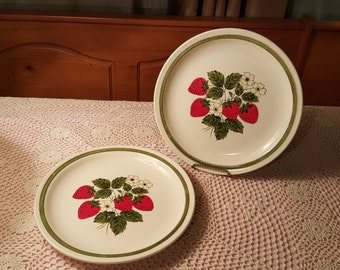 Pair of Ironstone Strawberry Plates by Jamestown China
