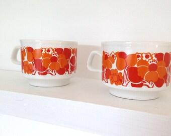 Vintage retro floral Staffordshire pair of tea cups