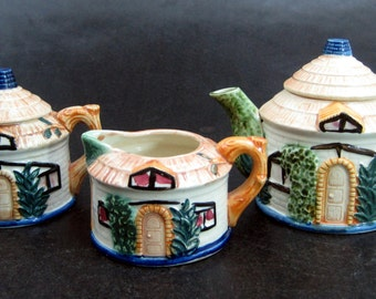 Vintage Occupied Japan Tea Pot Set 3 Piece Cream Sugar Cottage Home Hand Painted