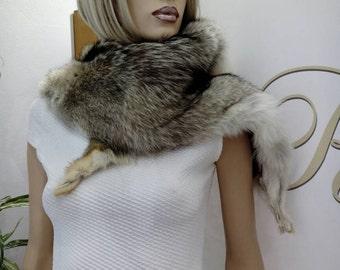 Sale -10%! SALE!New!!!Natural Real  Fullskin Coyote fur collar!