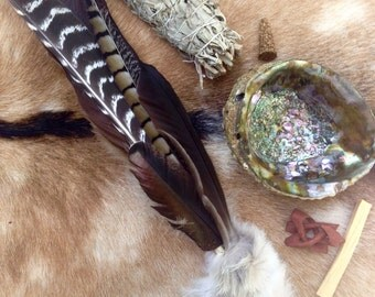 Ceremonial Feather Smudge Fan Deluxe Kit with Coyote Fur & Citrine Point