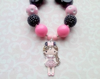Disney Girl Necklace, Minnie, Mickey, Chunky Bubblegum Bead Necklace with Rhinestone Pendant, Black, Pink, Rhinestone 20mm Beads