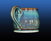 Coffee mug, pottery mug, coffee cup, potbelly mug, unique coffee mug, 12 oz, hand thrown, blue, hand thrown on pottery wheel, gift idea.