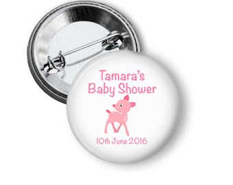 Baby Shower Badge  - Pink Fawn  5.7cm (2.25 inches)