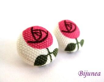 Rose earrings - Pink rose stud earrings - Pink rose posts - Pink rose studs - Pink rose post earrings sf433