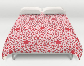 Star Duvet Cover, Red Duvet Cover, Stars Comforter, King Queen Full Twin, Size, Red Bed Cover, White Navy Bedspread, Pattern Bedding