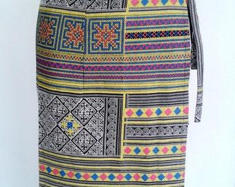 Yellow Multi-Color Hmong Skirt Boho Hippie Skirt Wrap Around Skirt Free Size