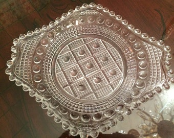 Pressed Glass and Beaded Uniquely Shaped Plate