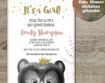 Baby shower invitation, Bear baby shower, whimsical Baby shower printable, digital invitation printable, glitter baby shower