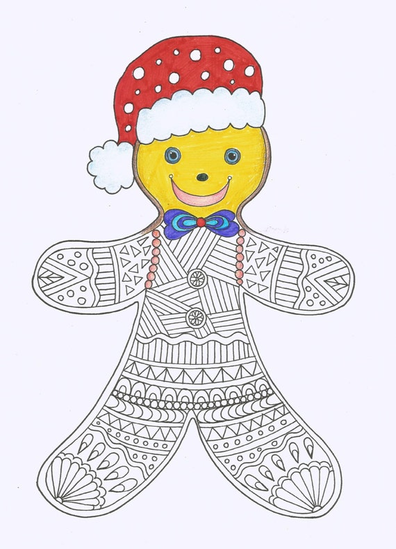 Gingerbread Man coloring page Christmas Coloring page Instant
