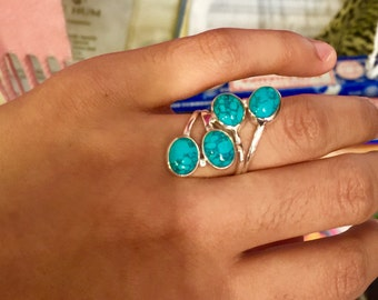 Sterling Silver 4 stoned natural Turquoise Ring