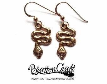 Gold Snake Earrings - Snake Earrings - Gold Reptile Earrings - Reptile Earrings - Epsteam