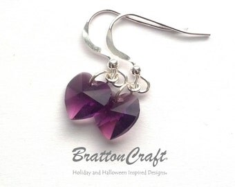 Amethyst Crystal Heart Earrings - Purple Crystal Heart Earrings - Valentine's Day - Valentine Earrings - Mother's Day - Epsteam