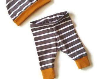 Baby boy clothes, trendy boy, baby boy leggings, baby pant and hat set, baby boy gift, mustard and grey baby boy, trendy toddler, new baby