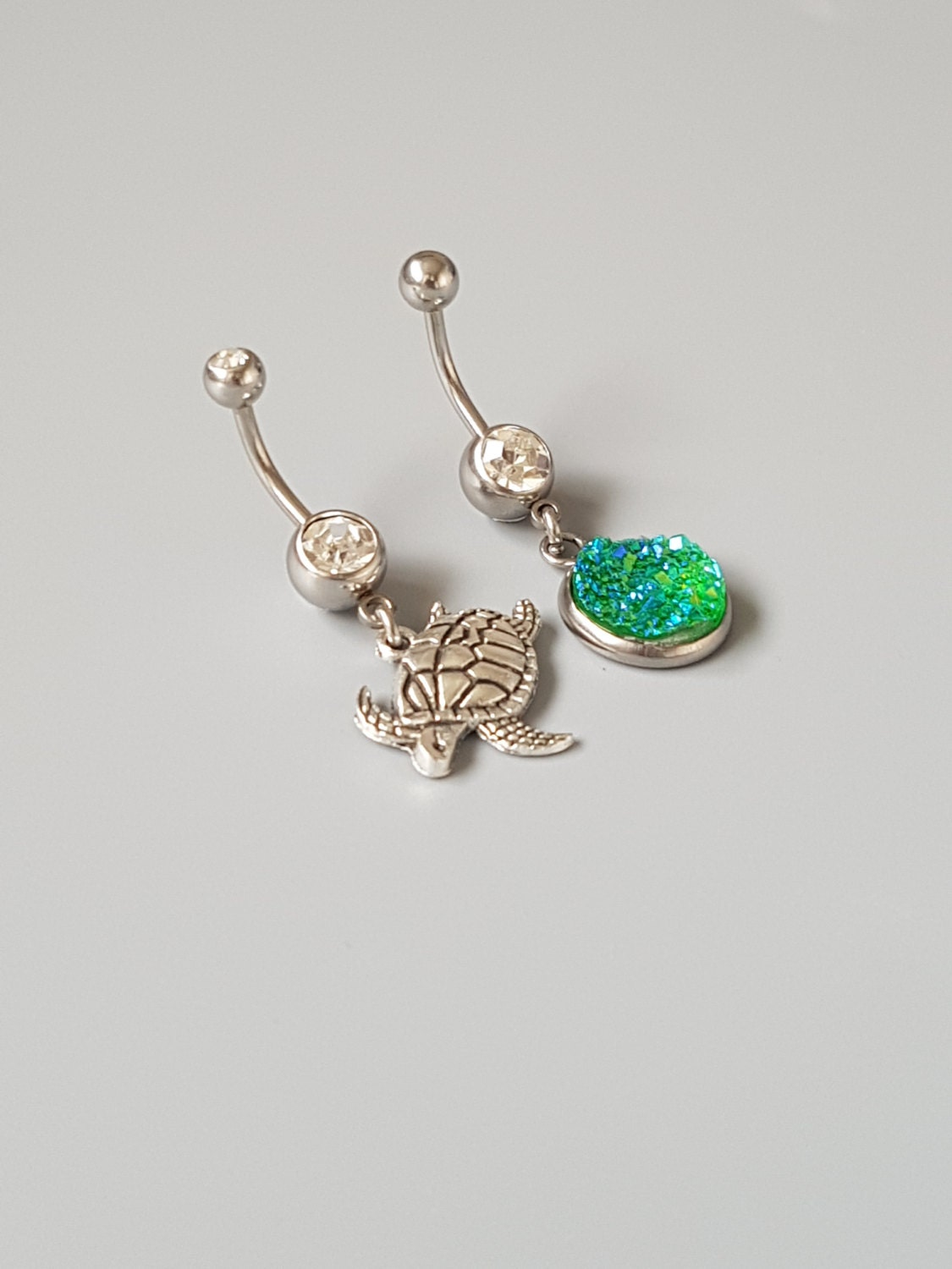 Belly button ring set Turtle navel rings Faux druzy green