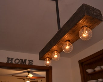 Reclaimed Wood - Chandelier - Light Fixture - Farm Light - Country Lighting - Ceiling Light Fixture - Ceiling Decor - Boho Chic - Boho